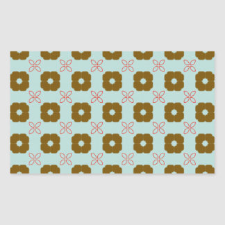 Red and Brown Floral Pattern Rectangle Sticker