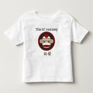 Red and Brown Sock Monkey: Fourth Birthday Tee