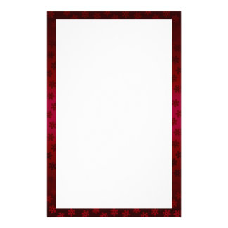 Red and Burgundy Snowflake Border Stationery Paper