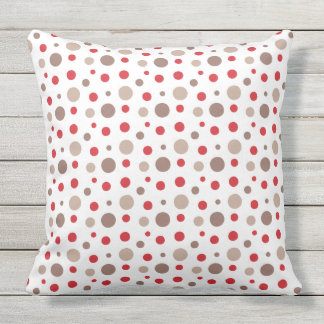 Red and Cappuccino Color Polka Dots Outdoor Pillow