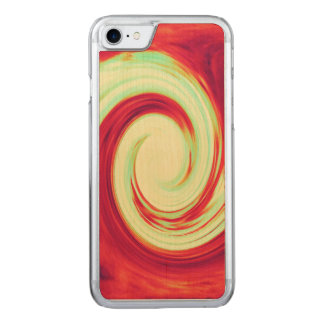 Red and Celadon Green Wave Spiral Carved iPhone 8/7 Case
