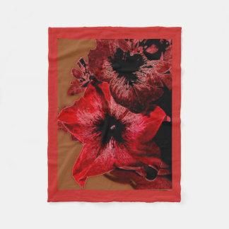 Red And Claret Petunia Fleece Blanket