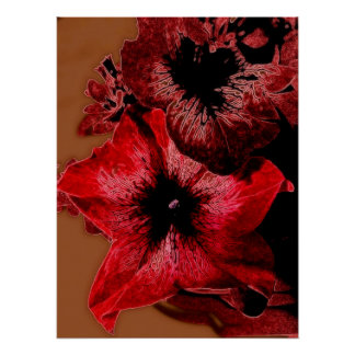 Red And Claret Petunia Poster