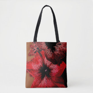 Red And Claret Petunia Tote Bag