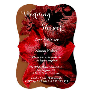 Red And Claret Petunia Wedding Shower Card
