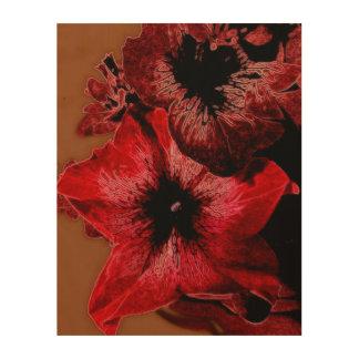 Red And Claret Petunia Wood Print