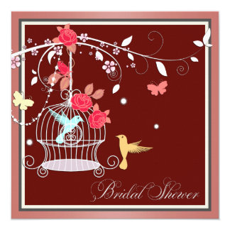 Red and Coral Birdcage Bridal Shower Card