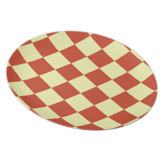 Red and Cream Checkered Party Plates