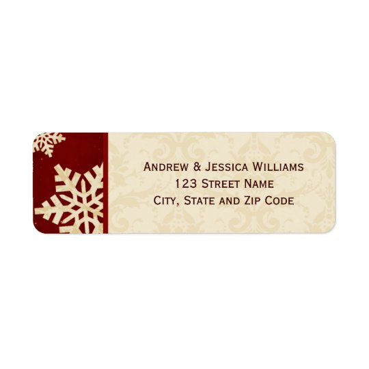 Red and Cream Damask Snowflake Address Labels
