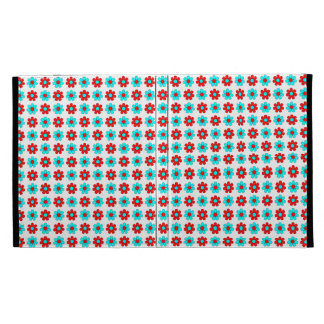 Red and cyan flowers case iPad folio covers