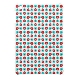 Red and cyan flowers case cases for iPad mini