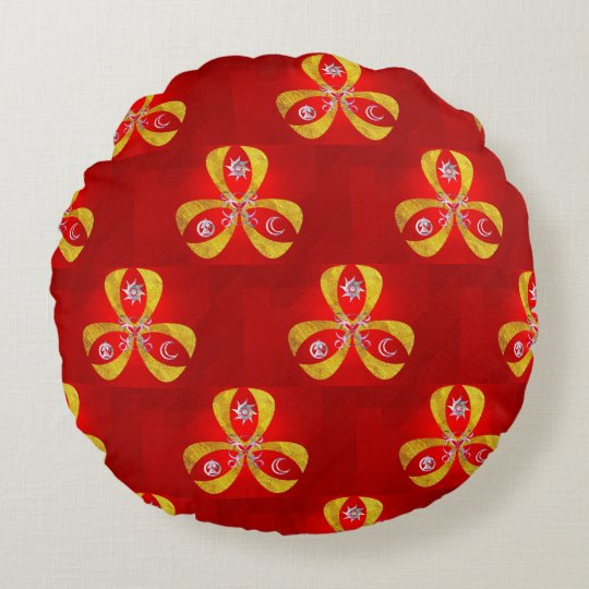 Red and fantasy symbol round pillow