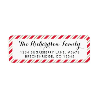 Red and Faux Gold Candy Cane Return Address Label