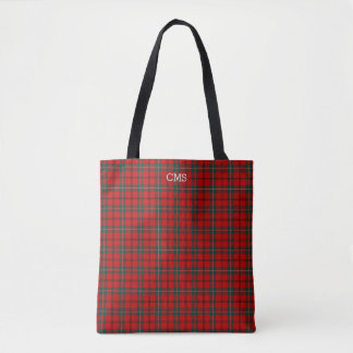 Red and Forest Green Plaid Scott Tartan Monogram Tote Bag