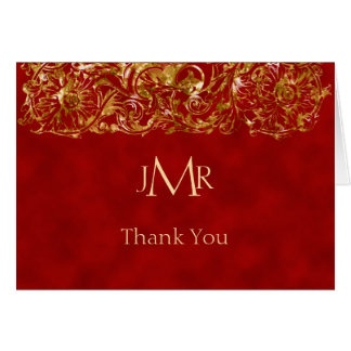 Red and Gold 40th Anniversary Thank You Card