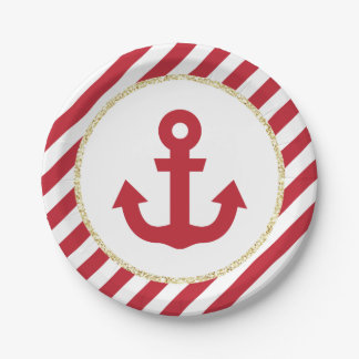 Red and Gold Anchor Paper Plates