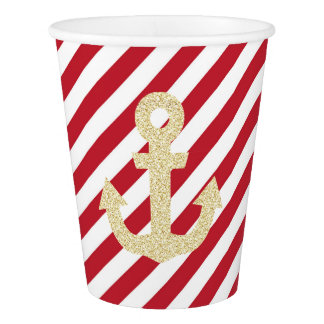 Red and Gold Anchor Party Cups