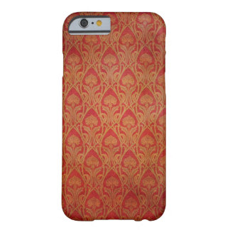 Red and Gold Art Nouveau Damask Barely There iPhone 6 Case