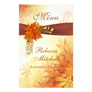 Red and gold autumnal leaves Menu Flyer