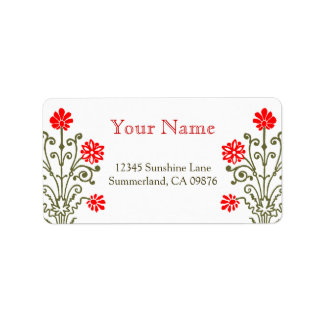 Red and Gold Baroque Etching Custom Address Label