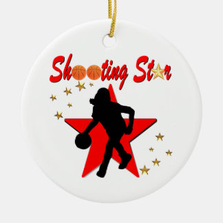 RED AND GOLD BASKETBALL SHOOTING STAR DESIGN CERAMIC ORNAMENT