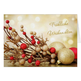 Red and gold baubles German Christmas Card