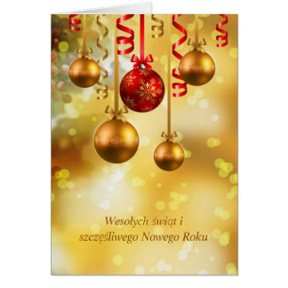 Red and gold baubles Polish Christmas Card