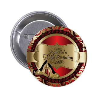 Red and Gold Birthday with Gold High Heels 2 Inch Round Button