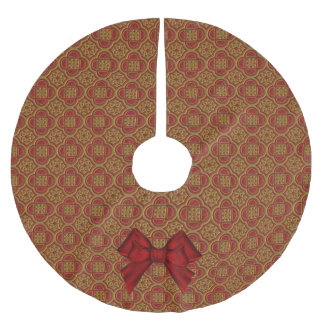 Red and Gold Brocade Look Christmas Tree Skirt Brushed Polyester Tree Skirt