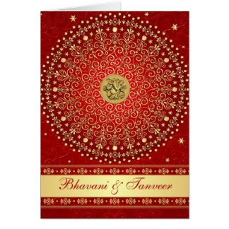 Red and Gold Card Style Wedding Invitation