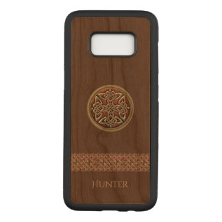 Red and Gold Celtic Knot Natural Wood Carved Samsung Galaxy S8 Case