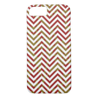 Red and Gold Chevron Pattern iPhone 7 Case