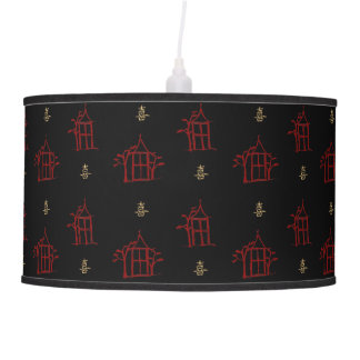 Red and Gold Chinoiserie Pagodas Pendant Light Hanging Pendant Lamp