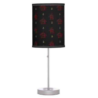 Red and Gold Chinoiserie Pagodas Table Lamp