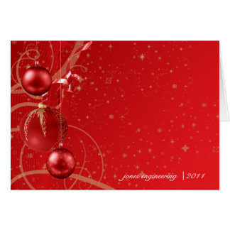 Red and Gold Christmas Ornament Business Christmas Card