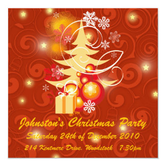 "Red and Gold Christmas Party 5.25"" Square Invitation Card"