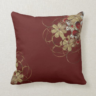 Red and Gold Christmas Poinsettia Throw Pillow