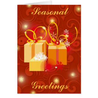 Red and Gold Christmas Presents scene Greeting Card