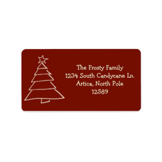 Red And Gold Christmas Tree Address Labels