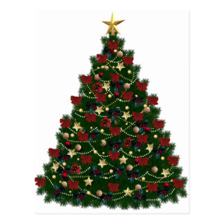 Red and Gold Christmas Tree Postcard