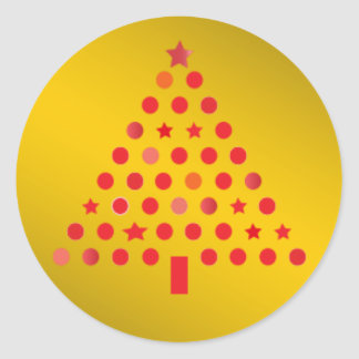 Red and Gold Christmas Tree Sticker