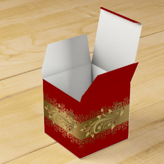 Red and Gold Corporate Holiday Gift Favor Box
