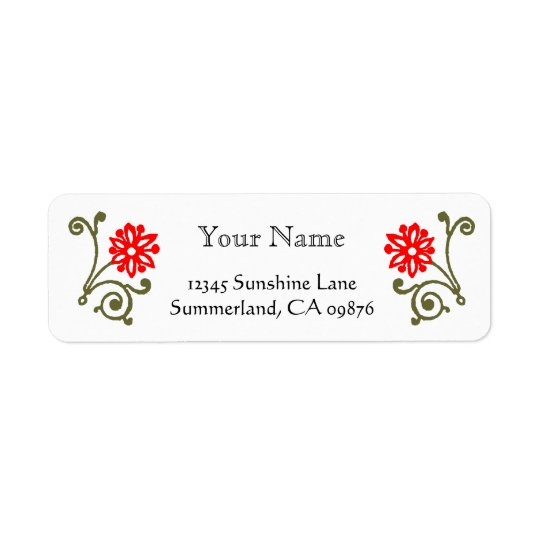 Red and Gold Daisy Etching Custom Return Address