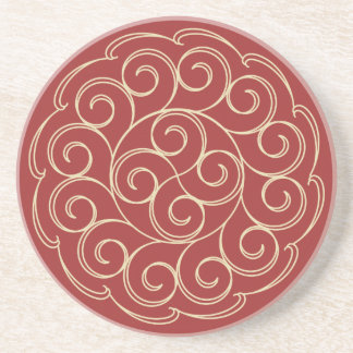 Red and Gold Design Coaster