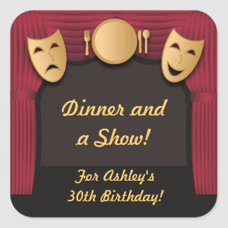 Red and Gold Dinner Theater Party Stickers