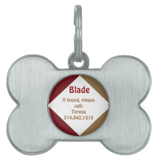 Red and Gold Dog Bone Dog Tag