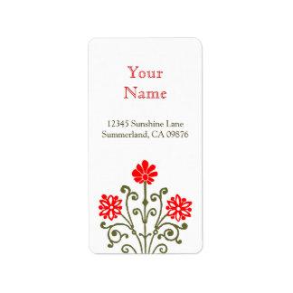 Red and Gold Elegant Baroque Custom Address Label
