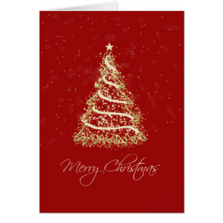 Red and Gold Elegant Christmas Tree Greeting Card