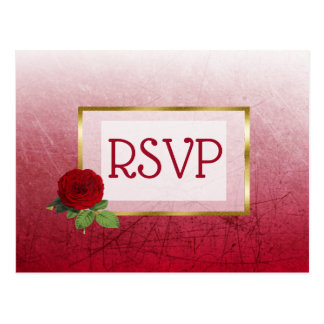 Red and Gold Faded Rose Wedding RSVP Postcards