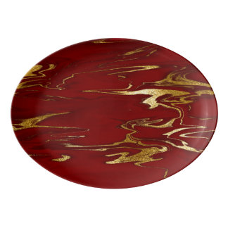 Red and Gold Faux Marble design Porcelain Serving Platter